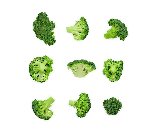Wzór z brokułami. warzywa streszczenie tło. brokuły na białym tle. wysokiej jakości zdjęcie