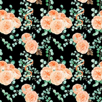 Wzór z brzoskwini i pomarańczy z kwiatem róży angielskiej austin i eukaliptusem