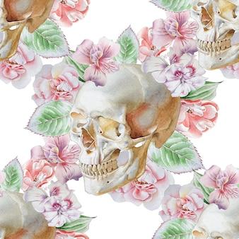 Wzór z czaszką i kwiatami