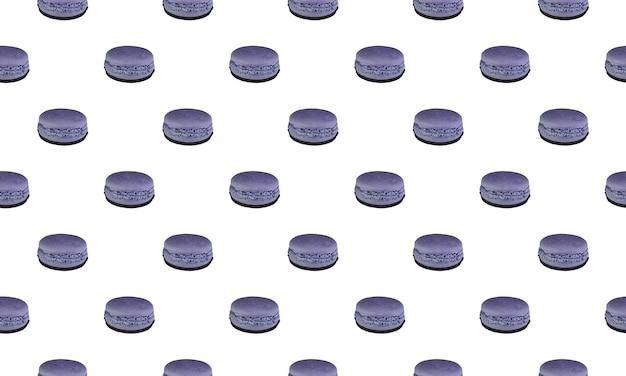 Wzór z fioletowymi makaronikami z cieniem na białym tle