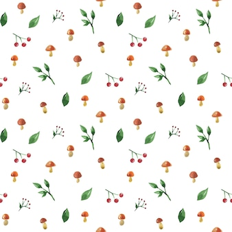 Wzór z grzybami, jagodami i liśćmi. ręcznie rysowane akwarela ilustracja. tekstura do druku, tkaniny, tkaniny, tapety.