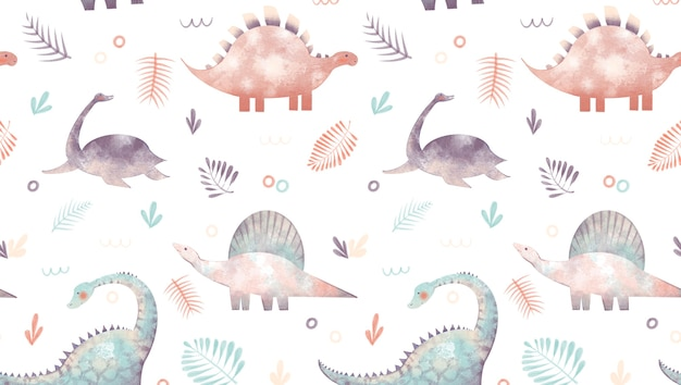 Wzór z ilustracją dinozaurów doodles liście palmowe na białym tle