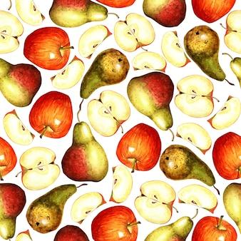 Wzór z jabłkami i gruszkami na białym tle na białym tle letnie owoce bogate w witaminy