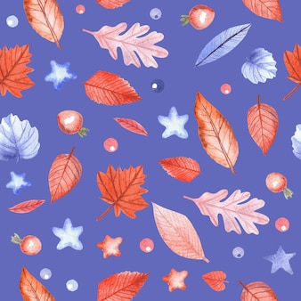 Wzór z jesiennych liści i jagody dzikiej róży na niebieskim tle. ręcznie malowane akwarela ilustracja.