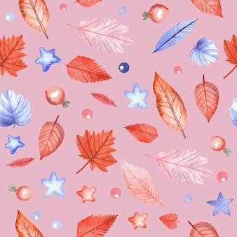 Wzór z jesiennych liści i jagody dzikiej róży na różowym tle. ręcznie malowane akwarela ilustracja.