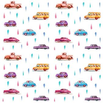 Wzór z kreskówki akwarela samochodów. wyciągnąć rękę