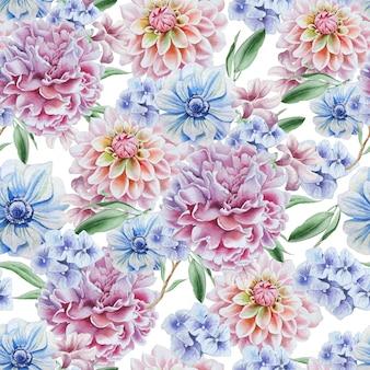 Wzór z kwiatami. dalia. anemon. piwonia. akwarela ilustracja. wyciągnąć rękę.