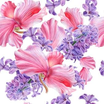 Wzór z kwiatami. hiacynt. cyklamen. akwarela ilustracja. wyciągnąć rękę.