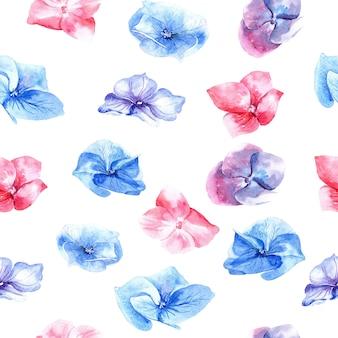 Wzór z kwiatami, hortensja