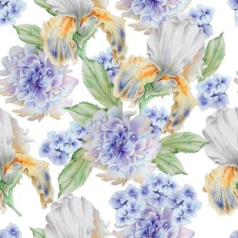 Wzór z kwiatami. irys. piwonia. akwarela ilustracja. wyciągnąć rękę.