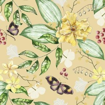 Wzór z kwiatami jagody motyle i liście akwarela ilustracja
