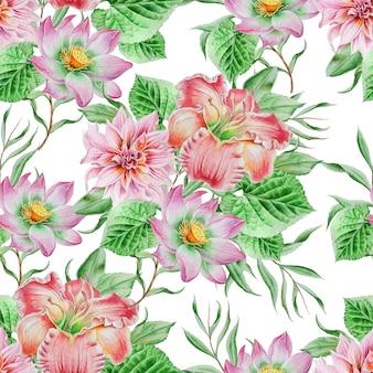 Wzór z kwiatami. lilia. lotos. akwarela ilustracja. wyciągnąć rękę.