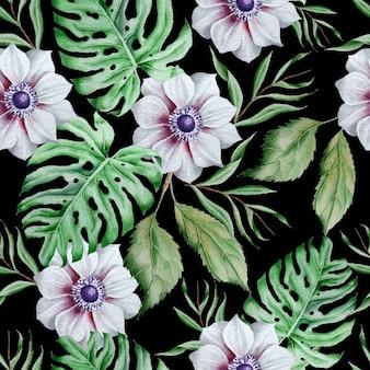 Wzór z kwiatami. monstera. anemon. akwarela ilustracja. wyciągnąć rękę.