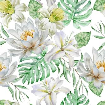 Wzór z kwiatami. narcyz. lilia. monstera. akwarela ilustracja. wyciągnąć rękę.