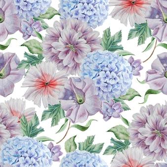 Wzór z kwiatami. piwonia. hortensja. akwarela ilustracja. wyciągnąć rękę.