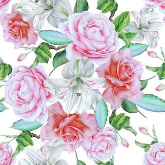 Wzór z kwiatami. róża. alstroemeria. akwarela ilustracja. wyciągnąć rękę.