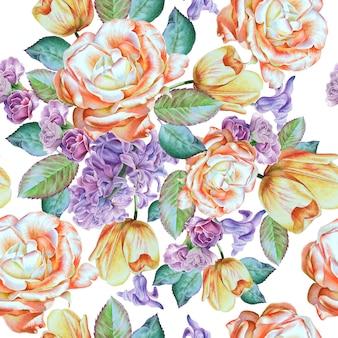 Wzór z kwiatami. róża. hiacynt. tulipan. akwarela ilustracja. wyciągnąć rękę.