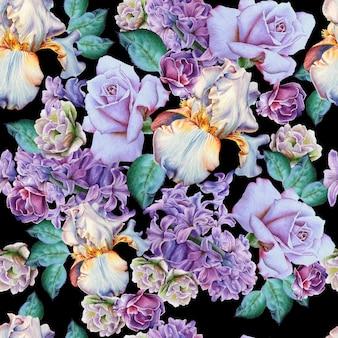 Wzór z kwiatami. róża. irys. hiacynt. akwarela ilustracja. wyciągnąć rękę.