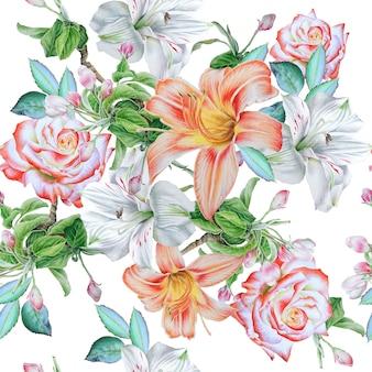 Wzór z kwiatami. róża. lilia. alstroemeria. akwarela ilustracja. wyciągnąć rękę.