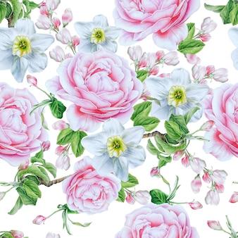 Wzór z kwiatami. róża. narcyz. akwarela ilustracja. wyciągnąć rękę.