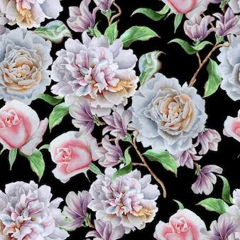 Wzór z kwiatami. róża. piwonia. akwarela ilustracja. wyciągnąć rękę.