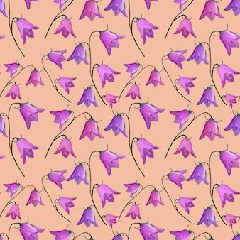 Wzór z kwiatów dzwonka dzwonek na beżowym tle w gwasz.