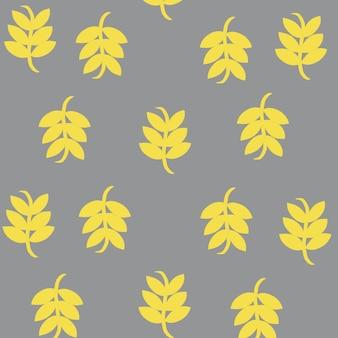 Wzór z liśćmi w żółto-szarym kolorze trendu z 2021 r. do tapet tekstylnych o fakturze artystycznej