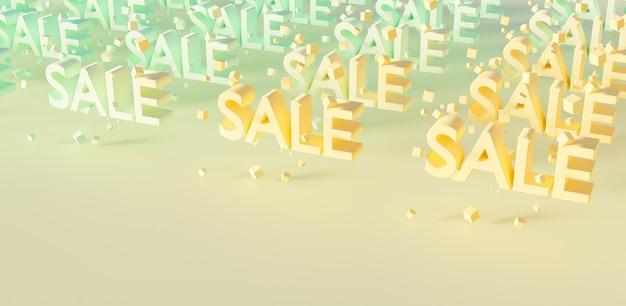 Wzór z napisem sale i kostkami zawieszonymi między literami w pastelowych kolorach