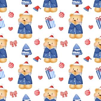 Wzór z niedźwiedziami i świąteczną dekoracją w stylu przypominającym akwarele.