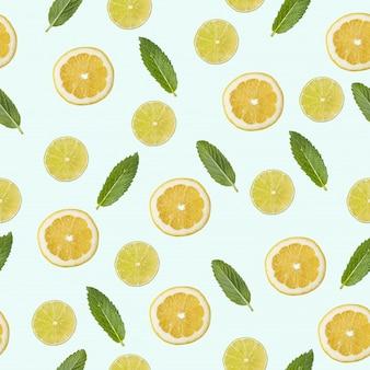 Wzór z obrazem cytryny, limonki i mięty.