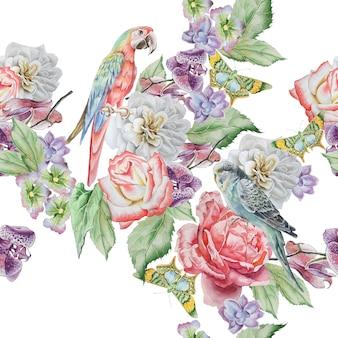 Wzór z papugą, motylem i kwiatami