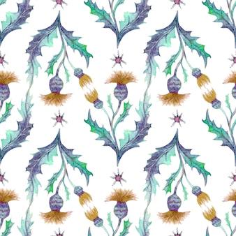 Wzór z polne kwiaty i liście na białym tle