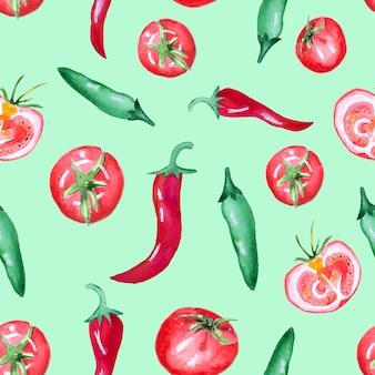 Wzór z pomidorami i papryką chili