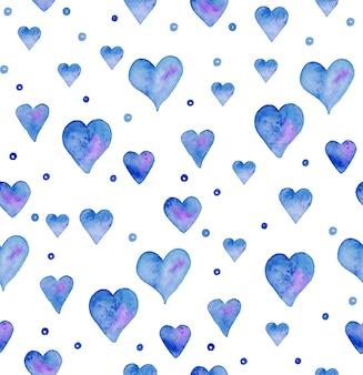 Wzór z ręcznie rysowane akwarele serca. ręcznie malowany wzór. romantyczny ornament na walentynki. ilustracja atramentu. pojedynczo na białym tle. wzór serca błękitne niebo