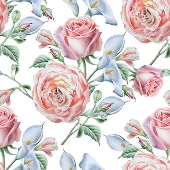 Wzór z róż akwarela