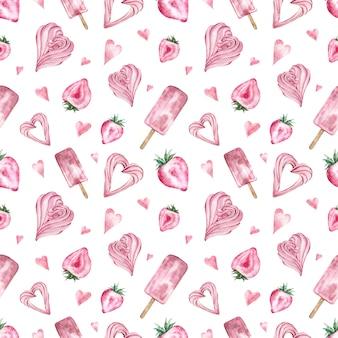 Wzór z różowe słodycze, lody, truskawka w kształcie serca, ptasie mleczko.