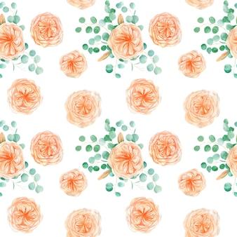 Wzór z róży i eukaliptusa