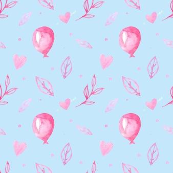 Wzór z rysunkami akwarelowymi. ręcznie rysowane piłki, serca i gałęzie, liście