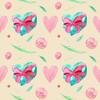 Wzór z rysunkami akwarelowymi. ręcznie rysowane prezenty i gałęzie, liście, serca na beżowym tle.