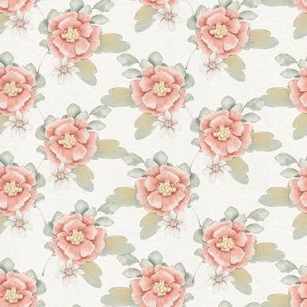 Wzór z słodkie delikatne wiosenne kwiaty i liście.