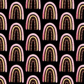 Wzór z tęczy boho w neutralnym kolorze. akwarela ręcznie rysowane ilustracja, papier cyfrowy na czarnym tle
