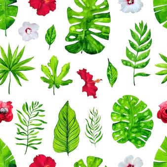 Wzór z tropikalnymi liśćmi i kwiatami