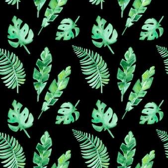 Wzór z tropikalnymi liśćmi