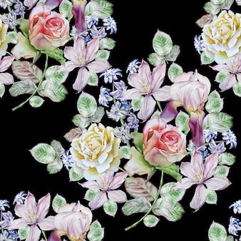 Wzór z wiosennych kwiatów.