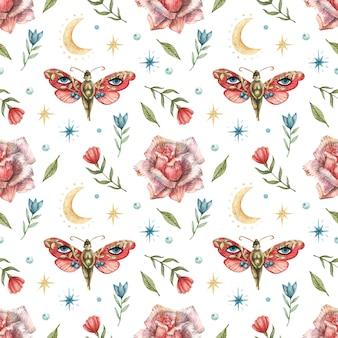Wzór z wizerunkiem kwiatów, czerwonych motyli, dziewcząt, róż, księżyca i gwiazd