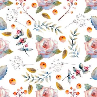 Wzór. zestaw gałązek kwiatowych. różowy kwiat róży, zielone liście, czerwony