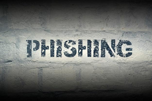 Wzornik phishingowy na ścianie z białej cegły grunge