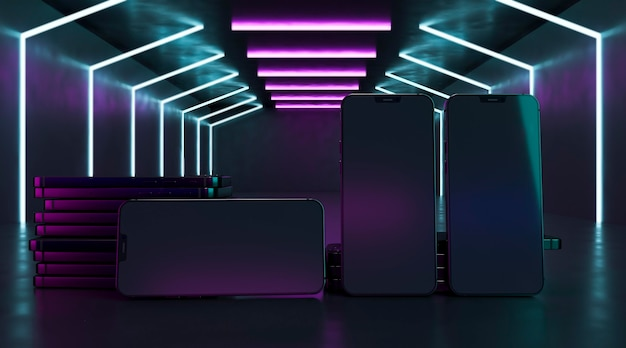Wzory telefonów w neonach