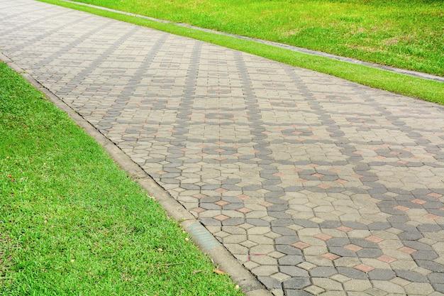 Wzorzyste płytki chodnikowe w chodniku w parku