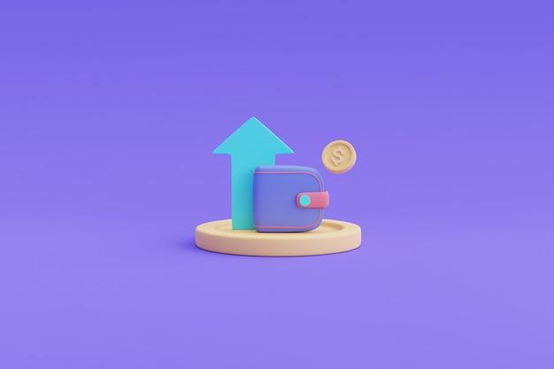 Wzrost aktywów w czasie koncepcja, wzrost dochodów, wydajność finansów, wzrost przychodów. ilustracja renderowania 3d.